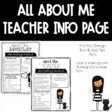 All About Me Teacher Information Page