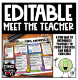 EDITABLE Meet The Teacher Template, All About Me Template
