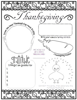 All About Me Thanksgiving Edition