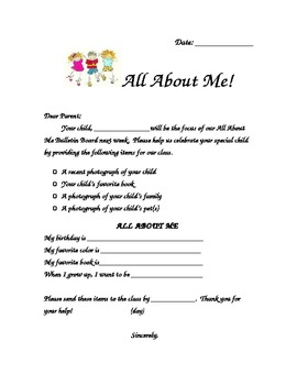All About Me Throughout the Year Letter