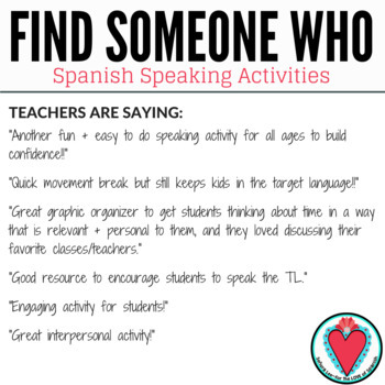 Spanish Speaking Activity - All About Me - Find Someone Who