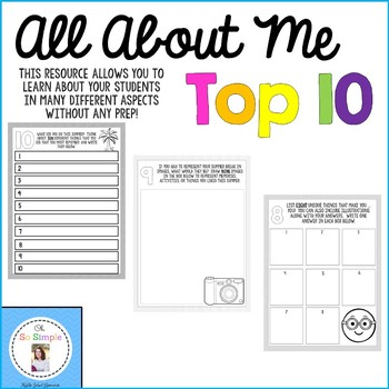 All About Me Top 10 Activity- Printable