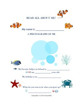 All About Me Under the Sea Printable and Craft