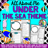 All About Me Under the Sea Theme Get to Know Me Activity (