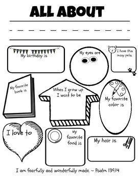 All About Me Unit for Preschoolers:  Christian Version
