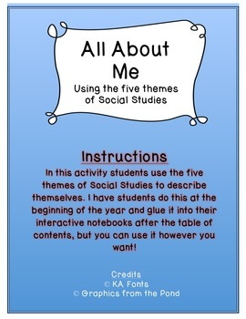 All About Me Using the Five Themes of Social Studies