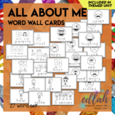 All About Me Vocabulary Word Wall Cards (set of 27) - Black & White Version