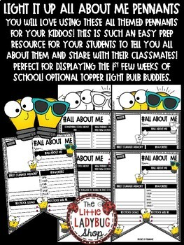All About Me Poster Pennant- Back to School Writing First Day of School Activity