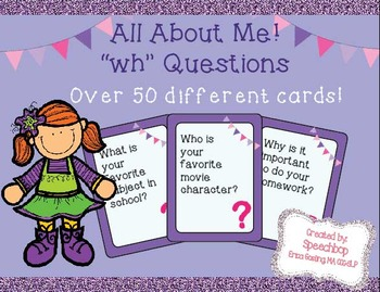All About Me! - Wh Question Cards