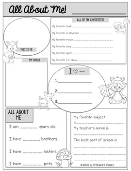 All About Me!  Woodland Theme