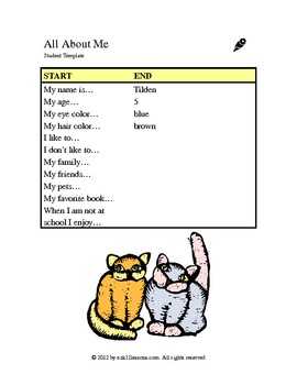 All About Me | Word Processing Activity
