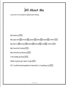 All About Me Word Processing Lessons
