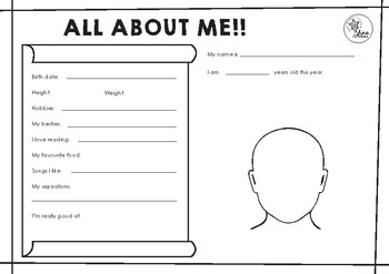 All About Me Worksheet by Zhine Sisters | Teachers Pay Teachers