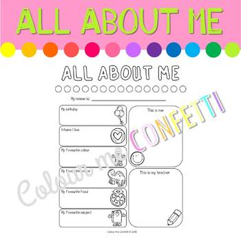 All About Me Worksheet - Colour me Confetti