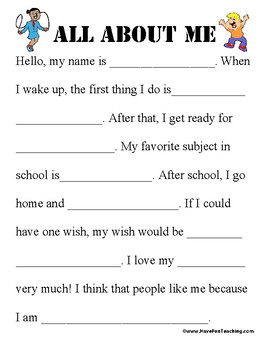 All About Me Worksheet (FUN FOR BACK TO SCHOOL)