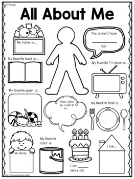 image relating to All About Me Printable Worksheets called All Regarding Me Worksheet (Initially Working day of College Match)!