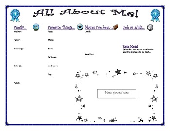 All About Me Worksheet Form