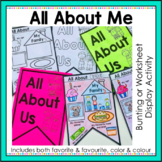 All About Me Activity - Worksheet and Bunting