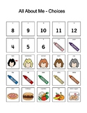 All About Me Worksheet and Choice Board