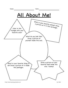 All About Me Worksheet for K-2nd Grade FREE