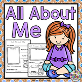 All About Me: Worksheets, Booklet