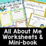 All About Me Worksheets and Mini-book