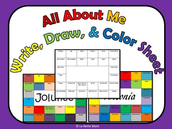 All About Me - Write, Color, and Draw Sheet