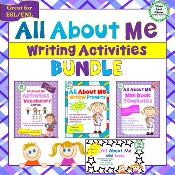 All About Me Writing Activities Bundle - Great for ESL/ENL