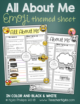 All About Me Writing Activity - Emoji Theme