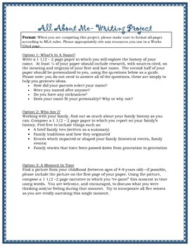 All About Me Writing Project