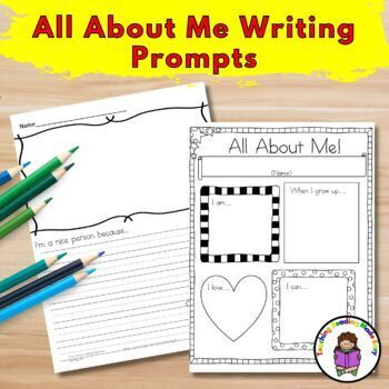 All About Me Writing Prompts for Kindergarten, First and Second