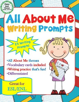 All About Me Writing Prompts with Vocabulary Cards Great for ESL/ENL