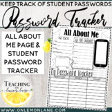 All About Me and Computer Password Tracker Sheet