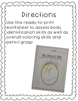 All About Me and Facial Body Part Assessment Bundle
