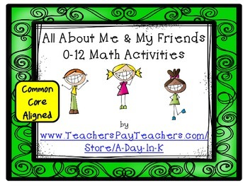 All About Me and My Friends 0 to 12 Math Activities and Printable Pages