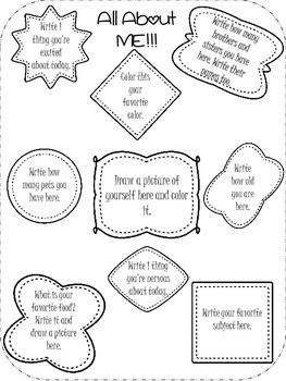 All About Me and All About My Friends Journal Entry, Beginning of Year Activity