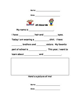 All About Me and You: Get to Know You Activity
