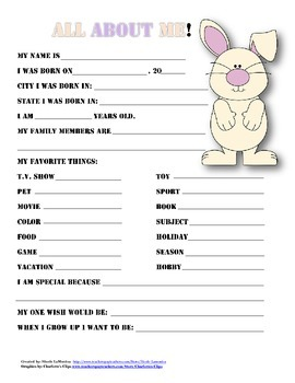 """""""All About Me"""" animal themed student questionnaire"""