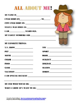 """""""All About Me"""" cowboy themed student questionnaire"""
