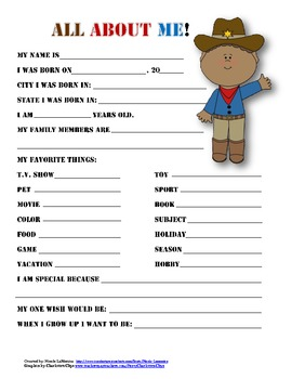 """All About Me"" cowboy themed student questionnaire"