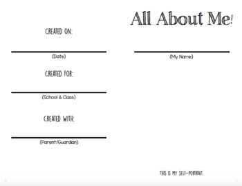 All About Me booklet (Week of the Young Child)