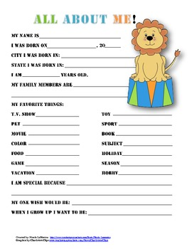 """All About Me"" circus themed student questionnaire"