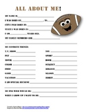"""All About Me"" football themed student questionnaire"