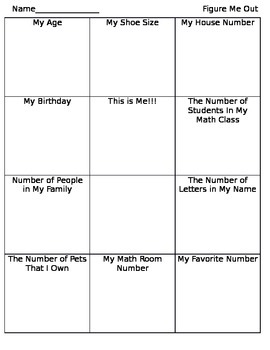 All About Me for Beginning of the Year Math Classes