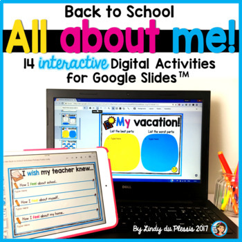 All About Me for Google Slides Back to School Paperless Digital Activities