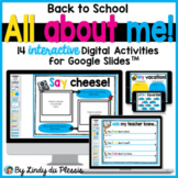 All About Me Google Slides Back to School Distance Learnin