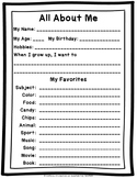 Back to School  Free Download All About Me for Middle School