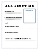 All About Me (for students from diverse cultures)