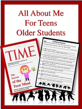 All About Me for the Older Students!