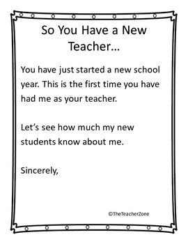 All About Me for the Teacher and End of Year Follow-up